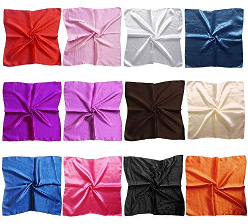 (LilMents 12 Mixed Designs Small Square Satin Womens Neck Head Scarf Scarves Bundle Lot Set (Set)