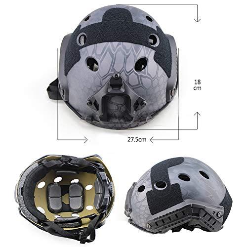 QZY Casque PJ Fast Tactical avec Masque pour Le Visage Couvre-Chef Polyvalent - Casque D'entraînement Multifonctionnel… 3