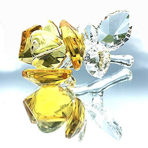 Waltz&F Crystal Rose Flower,Glass Rose Paperweight Figurine Collectible Statue Wedding Table Centerpiece Ornament,Yellow Rose (Figurine Rose)