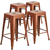 "Flash Furniture 4 Pk. 24"" High Backless Copper Indoor-Outdoor Counter Height Stool For Sale"