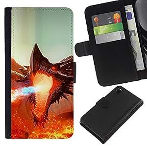 KingStore / Leather Etui en cuir / Sony Xperia Z3 D6603 / Fierce Smaug Fire Dragon