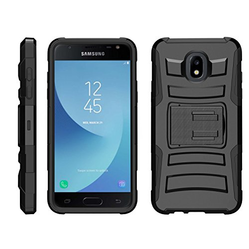 TurtleArmor | Compatible for Samsung Galaxy J3 (2018) Case | J337 [Hyper Shock] Heavy Impact Shock Silicone Rugged Case Stand Belt Clip Holster Music Design - Black
