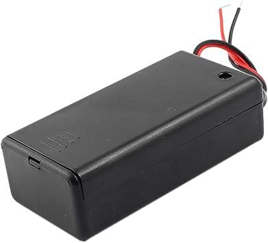 sourcing map Diseño de/Interruptor de Apagado 2-para Cable Soporte de batería Caja para batería de 1 x 9 V: Amazon.es: Electrónica