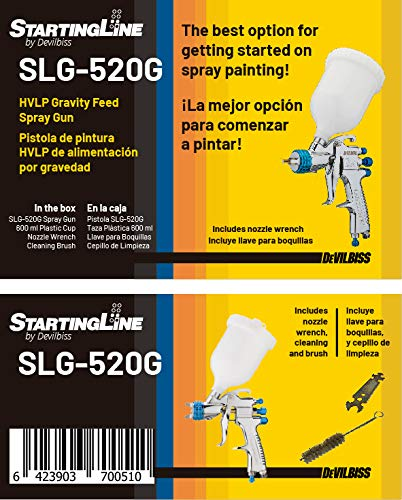 DeVilBiss STARTINGLINE HVLP Spray Gun for Painting Control 1.3mm Gravity Feed Paint Gun with 600milliliter Plastic Cup by DeVilbiss (Image #7)