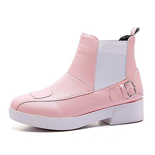 Allhqfashion Women's Low-Heels Soft Material Low-top Solid Pull-on Boots Pink HJNcZ8b