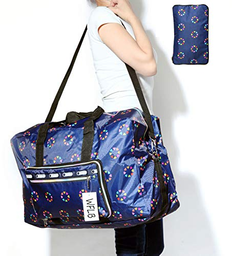 Super Lightweight Carry On - Large Travel Duffel Bag Foldable Large Travel Bag Weekend Bag Checked Bag Luggage Tote 18 Style 21.6IN x 9.8IN x 13.7IN (blue heart)