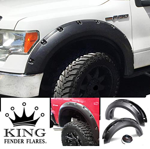 KING FENDER FLARES - Fits 2009-2014 Ford F-150 Pocket with Rivet Style Flares - 4 Piece Bolt On - Smooth Finish - Paintable Bolt-On