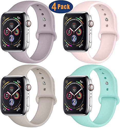 GBPOOT Compatible with Apple Watch Band 38mm 40mm 42mm 44mm, Soft Silicone Wristband Replacement Band Compatible Iwatch Series 5,Series 4,Series 3,Series 2,Series 1-4pack