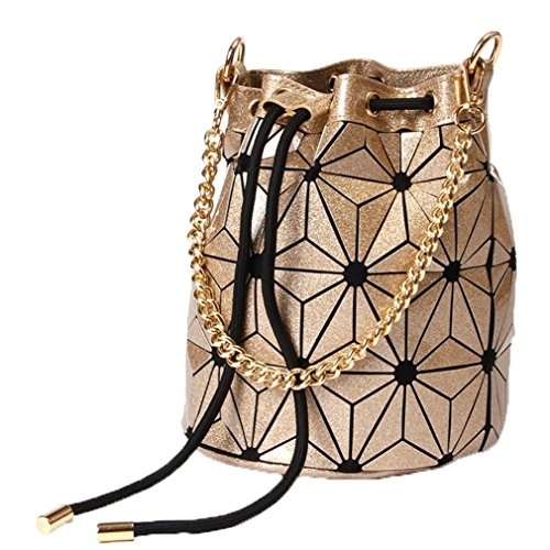 (Drawstring Bucket Bag Women Geometry Shard Lattice Handbag PU Shoulder Bags Gold 25cmX20cmX20cm )