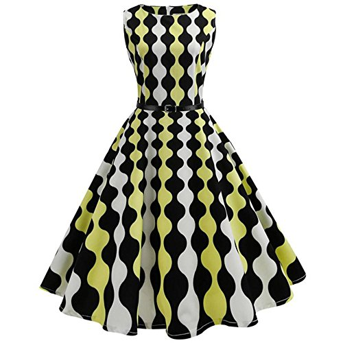 Pattern Swing Cocktail Dress JYC Rockabilly Party Floral Swing Casual 1950s Evening Evening Prom Print Vintage Women's Swing Classy Yellow Party Dress Dress w8Y6I8