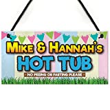 RED OCEAN Personalised Hot Tub Rules Funny Jacuzzi Gift Hanging Plaque Friendship Sign