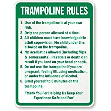 "SmartSign Aluminum Sign, Legend ""Trampoline Rules"", 24"" High X 18"" Wide, Green on White"