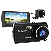 TOGUARD Dash Cam Front and Rear Dual Camera for Cars,4.0 IPS Screen,HD 1080P Car Dash Camera, Rearview Backup Camera,130 Degree Wide Angle, WDR, Loop Recording, G-sensor, Parkingmonitor