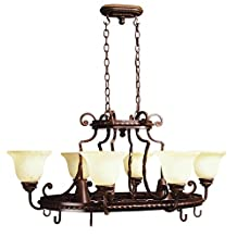 Jeremiah 8138AG8 Riata 8 Light Pot Rack Chandelier Textured with Antique Scavo Glass, Aged Bronze