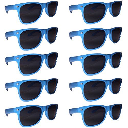 BULK SUNGLASSES Wholesale 10 Pack Aqua Blue- Wholesale Unisex 80's retro Wayfarer Style Party Sunglasses Bulk - Sunglasses Wholesale Plastic