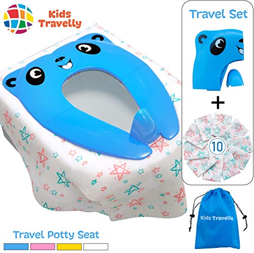 Handy Travel Set of Portable Potty Seat & 10 Toilet Covers – Potty Training Seat for Toddlers – Compact, Hygienic, Stays in Place. Makes Potty Training Easy. By KidsTravelly