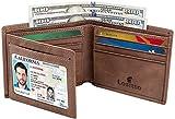 Men's Bifold Wallet - RFID Blocking Cowhide Leather Vintage Travel Wallet (Chocolate brown-Vintage top grain leather)