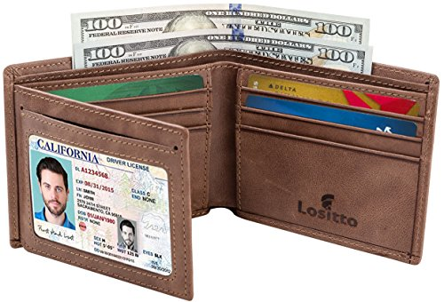 Distressed Fold Leather Bi (Men's Bifold Wallet - RFID Blocking Cowhide Leather Vintage Travel Wallet (Chocolate brown-Vintage top grain leather))
