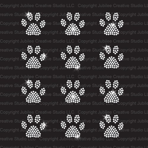 Set of 12 Mini Paw Print Iron On Rhinestone Crystal T-shirt Transfers by JCS Rhinestones -