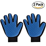 wangstar Pet Grooming Gloves Mitts, Pet Deshedding Bathing Massage Brush Glove Comb for Long & Short Hair Dogs, Cats, Bunnies, Horses, 2 Pack, Blue