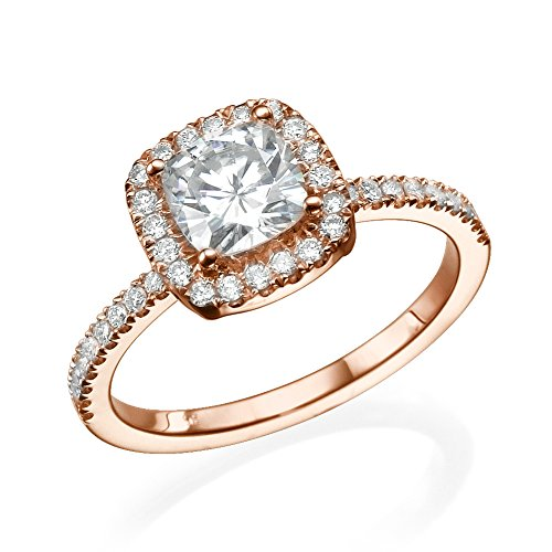 6.00MM Forever One D F VS Moissanite Ring With Diamonds (0.9 ct, 1.43 ctw dew) Cushion Cut 14K Gold