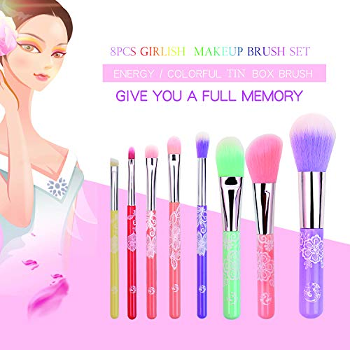 ENERGY Colorful Rainbow Makeup Powder Brushes Set With Case Beauty Tools with Foundation Face Blending Blush Concealer Brow Eye Shadow Brushes Essential Cosmetics for Girl Women (8 Pcs) …