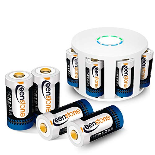 (Keenstone 3.7V 700mAh CR123A Li-ion Battery 8 PCS with 8 Slot Charger for Arlo Security Cameras)