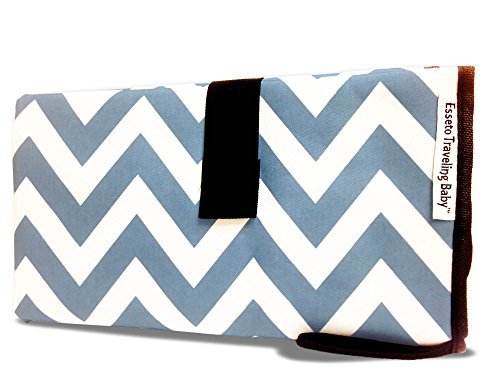 Esseto Traveling Baby portable diapering station | 24X28″ changing area w/2 11X7″ storage pockets | Folds down to 11X8″ | Fits any diaper bag