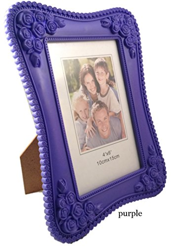 Frame Amo Embossed Picture Photo Frame, 1.25 inch Flower-Themed Border (4x6, Purple) (Purple And Gold Picture Frame)
