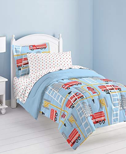 dream FACTORY Fire Truck Ultra Soft Microfiber Comforter Set, Twin, Blue (Firefighter Pillows For Beds)