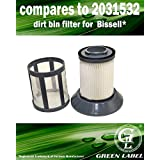 For Bissell Zing Bagless Canister Dirt Bin Vacuum Filter (compares to 2031532). Genuine Green Label product.