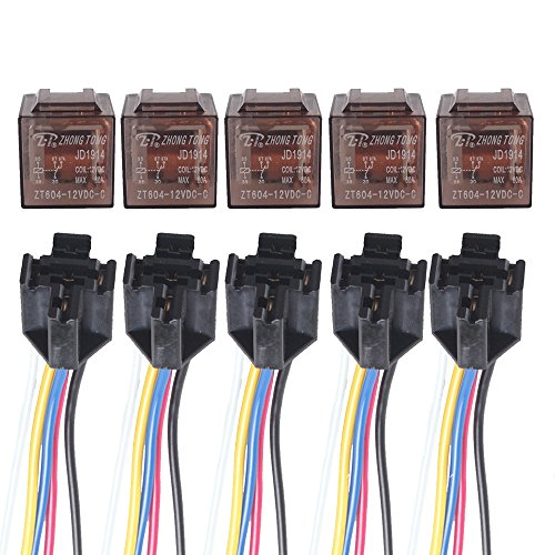 60a Relay - Etopars™ 5 X Car Vehicle Auto Truck 12V Volt DC 60A AMP Transparent Relay SPDT 5Pin Socket Plug Wire