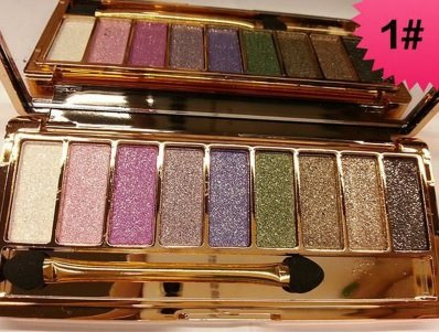 9 colors Diamond Bright Colorful Makeup Eyeshadow super Make up set flash Glitter Nk eye shadow Palette with Brushes - Copper Foil Shade