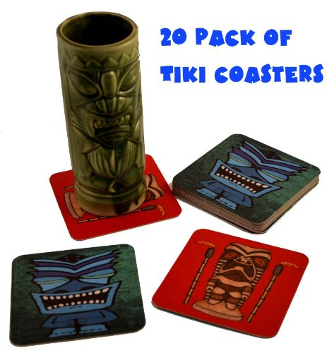 - 20 Tiki Bar Hawaiian Drink Cocktail Coasters