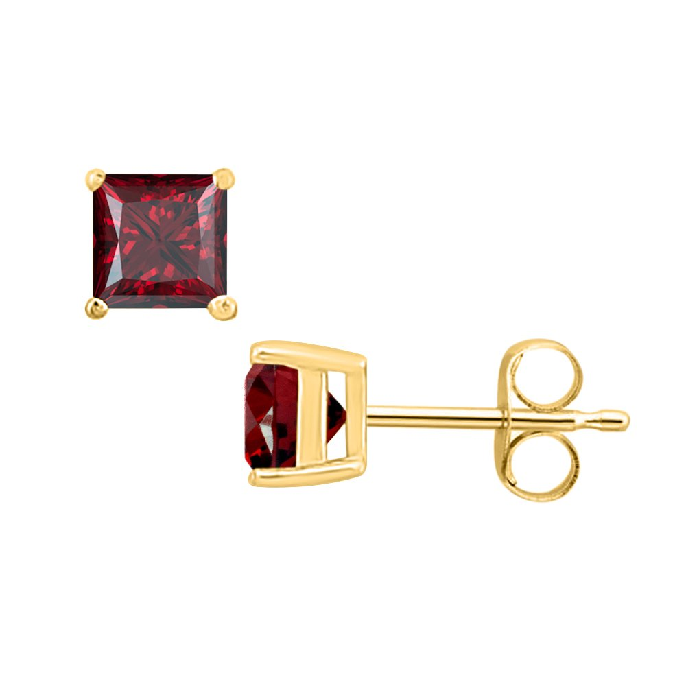 SVC-JEWELS Princess Cut Red Garnet Solitaire Stud Earrings 14K Yellow Gold Over .925 Sterling Silver For Womens /& Girls 3MM TO 10MM