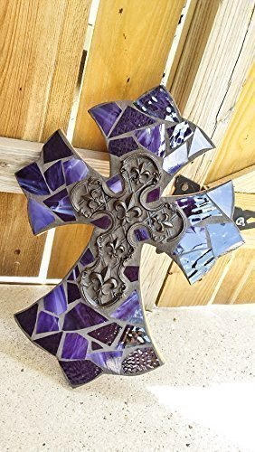 Mosaic Cross, Purple Stained Glass Cross with fleur de lis, Mosaic Wall Hanging, Decorative Cross