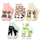 TeeHee Fashionable Cozy Fuzzy Slipper Crew Socks for Women 5-Pack (Animal)