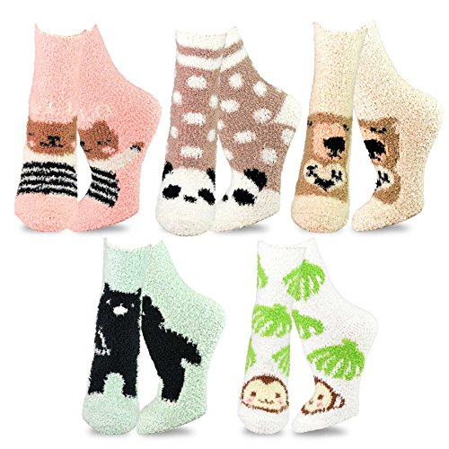 TeeHee Fashionable Cozy Fuzzy Slipper Crew Socks for Women 5-Pack (Animal)