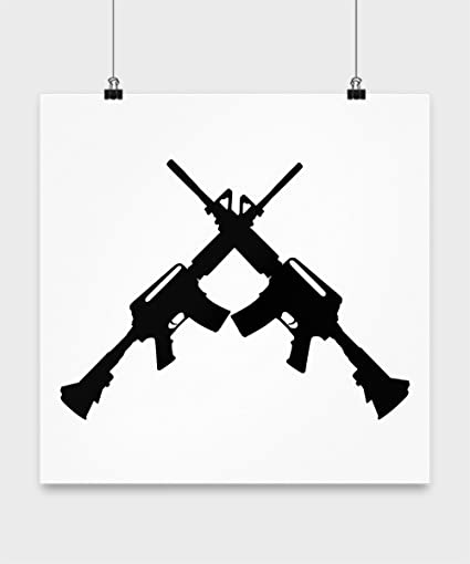 Amazon Com Gun Print Wall Art Black And White Design Of Two Guns
