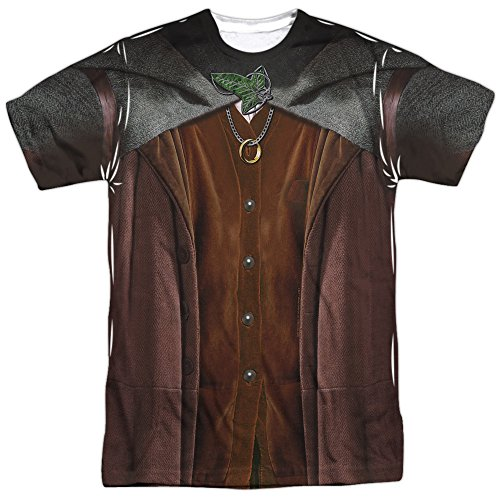 Lord Of The Rings Frodo Costume (Front/Back Print) Mens Sublimation Polyester Shirt (White, Large) (2)