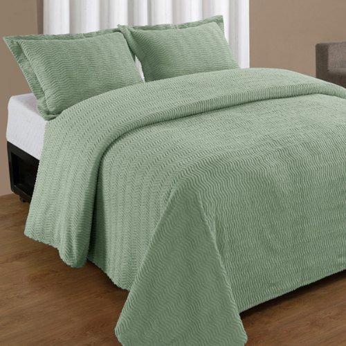 (Queen Sage Green Natick Contemporary Cotton Chenille Bedspread )