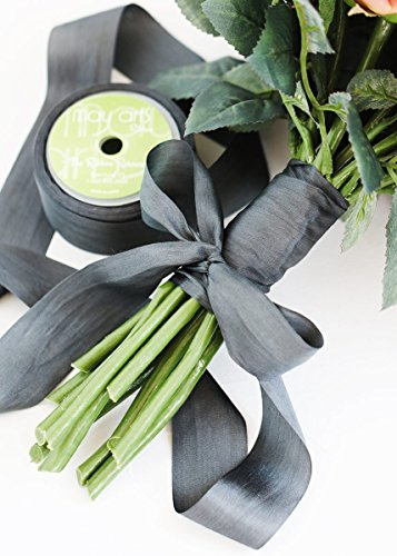 May Arts Ribbon (MAR-) Soft 100% Silk Ribbon in Charcoal Grey - 1.25'' Wide x 32 yd by May Arts Ribbon (MAR-)