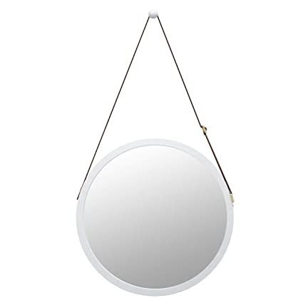 Bathroom Mirror Wall Mount - 15 inch Bamboo Frame Hanging Strap Round  Bedroom Dressing Mirror Hook 9a3a5478d3