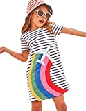 HILEELANG Little Girls Cotton Dress Short Sleeves Casual Summer Striped Printed Shirt,2T/(2-3T)95cm,1#whiterainbow