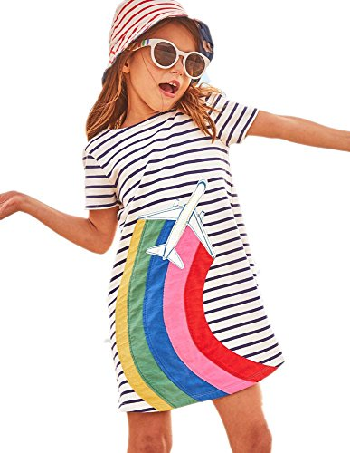 HILEELANG Little Girls Cotton Dress Short Sleeves Casual Summer Striped Printed Shirt,5T/(5-6T)120cm,1#whiterainbow