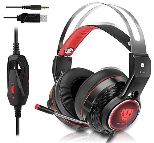 Gaming Headset for Xbox One, PS4, Surround Stereo Sound, Nintendo Switch, 3.5MM Wired Over-ear Headphone with Microphone and Volume Control for PC, Laptop, iPad, Phone(Red)