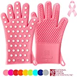 ☞ New For Summer 2016: Heavy-Duty Women's Silicone Oven Mitts ★ PINK Special Edition ★ Profits Will Help Fight Breast Cancer ★Designed in Italy, 2 Sizes Available ★ Heat Resistant Gloves (1 Pair XS/S)