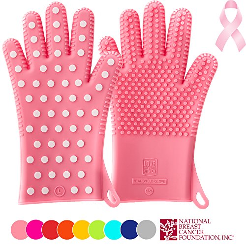 PINK Edition of Heavy-Duty Women's Silicone Oven Mitts | Profits Will Benefit The National Breast Cancer Foundation | 2 Sizes Available | Heat Resistant Barbecue & Cooking Gloves for Her (1 Pair, M/L)
