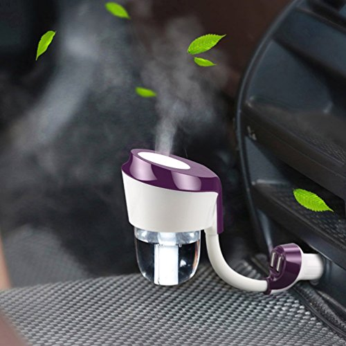 Vyaime Car Diffuser Humidifier Aromatherapy Essential Oil Diffuser,Dual USB Car Charger,Sponges Filter Auto Shut-off Ultrasonic Air Purifier for Car - Purple