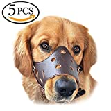 HS Dog muzzle, Muzzle for dog 5Pcs/Set in S,M,L,XL,XXL Adjustable Anti-biting Dog Muzzle Leather (Brown)